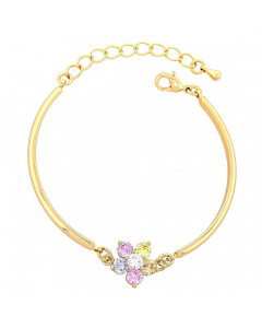 Adjustable Gold Layered CZ Flower Bracelet | The Jewel In Giving