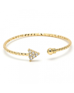 Gold Layered CZ Arrow Cuff Bangle | The Jewel In Giving