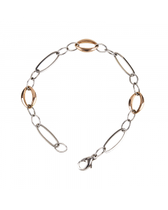 14k White and Rose Gold Bracelet with Mixed Links
