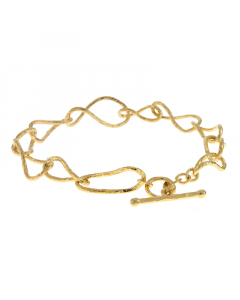 14k Yellow Gold Bracelet with Textured Links