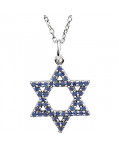 14k White Gold Blue Sapphire Star of David Necklace