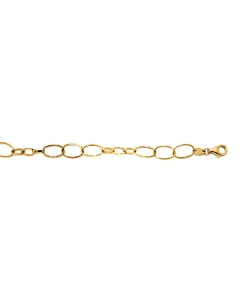 14k Yellow Gold Oval Mixed Link Bracelet