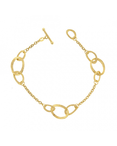 14k Yellow Gold Bracelet with Mixed Textured Links