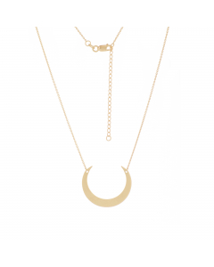 Adjustable Crescent Moon Necklace 14k Yellow Gold
