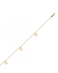 Adjustable Butterfly Cut Out Anklet 14k Yellow Gold