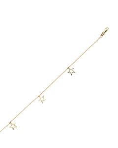 Adjustable Open Dangle Drop Star Trio Anklet 14k Yellow Gold
