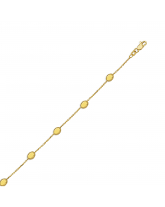 Satin And Polished Coffee Beans Anklet 14k Yellow Gold