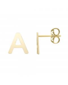Women's Initial A Stud Earrings 14k Yellow Gold |The Jewel In Giving