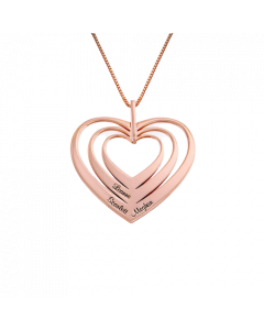 18k Rose Gold Plated Family Hearts Necklace| The Jewel In Giving