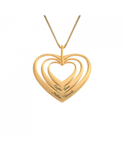 18k Yellow Gold Plated Family Hearts Necklace| The Jewel In Giving