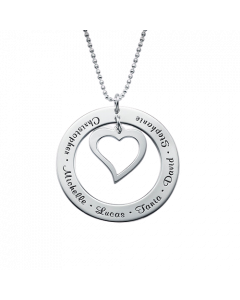 Sterling Silver Open Heart Family Necklace| The Jewel In Giving