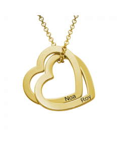 18k Yellow Gold Plated Interlocking Hearts Family Necklace| The Jewel In Giving
