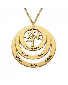 18k Yellow Gold Plated Circle Family Tree Necklace | The Jewel In Giving