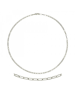 14k White Gold Oval Flat Chain 2.4mm 30''