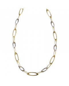 14k Two-Tone Gold High Polish Oval Link Chain 20''