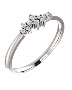 Sterling Silver Diamond Stackable Cluster Ring