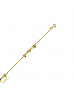 """Adjustable 9-10"""" Textured and Polished Heart Link Anklet 14k Yellow Gold"""