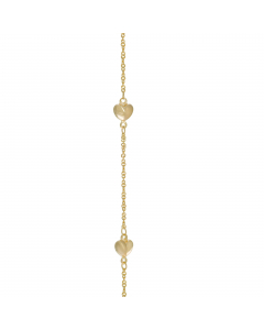 """Adjustable 9-10"""" Solid Heart Station Anklet 14k Yellow Gold"""