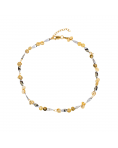 """Adjustable 9-10"""" Double Disk and Twists Anklet 14k Yellow, White Gold"""