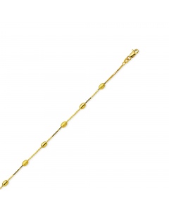 """Adjustable 9-10"""" Coffee Bean Link Anklet 14k Yellow Gold"""