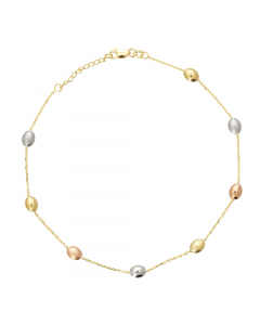 """Adjustable 9-10"""" Coffee Beans Anklet 14k Yellow, Rose & White Gold"""