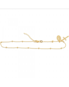 """Adjustable 9-10"""" Mary and Cross Anklet 14k Yellow Gold"""