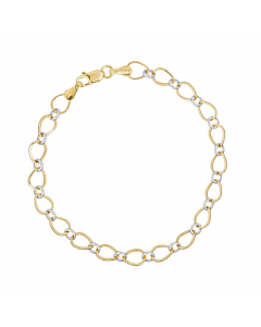 Two-tone Hollow Oval-link Bracelet in 14K Yellow, White Gold