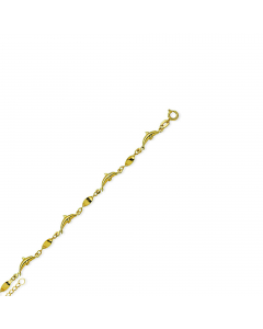 """Adjustable 9-10"""" Dolphin Twist Anklet 14k Yellow Gold"""