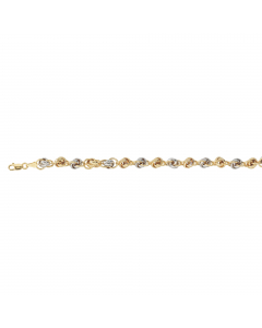 Two-tone knotted link Chain Bracelet 14k Yellow, White Gold