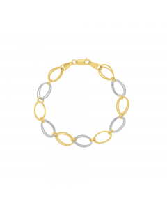 Two-tone Texture Knotted Link Bracelet 14k Yellow, White Gold