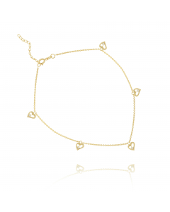 Open Heart Link Anklet 14k Yellow Gold