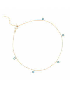 Blue and White Circle Anklet 14k Yellow Gold
