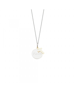 Faith Disc Pendant Necklace 14k Gold and Sterling Silver