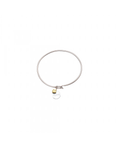 Engraved Love To Mom Sterling Silver Bangle Bracelet with 14k Gold Heart Charm