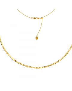 3.30mm Curb Chain Choker Necklace 14k Yellow Gold