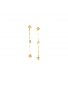 1/8ct Diamond Accents Chain Post Drop Earrings 14k Yellow Gold