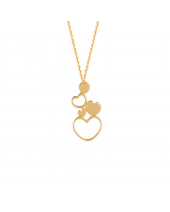 Adjustable Solid And Open Heart Necklace 14k Yellow Gold