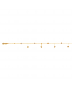Dangle And Plain Disk Station Anklet 14k Yellow Gold