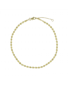 Adjustable Valentino Bead Chain Anklet 14k Yellow Gold