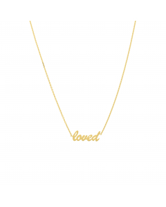 Adjustable Loved Script Choker Necklace 14k Yellow Gold