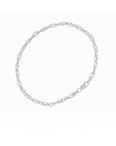 7.25inch Hollow Oval Textured Double Forzantina 60 Bracelet 14k White Gold