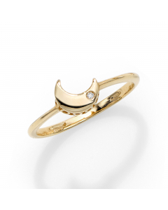 Women's Stackable Diamond Moon Ring 14k Yellow Gold | The Jewel In Giving