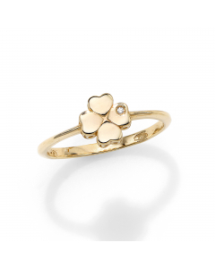 Women's Stackable Diamond Clover Ring 14k Yellow Gold | The Jewel In Giving