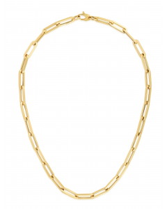 """Women's 18"""" Elongated Paperclip Link Necklace 6.1mm 14k Yellow Gold
