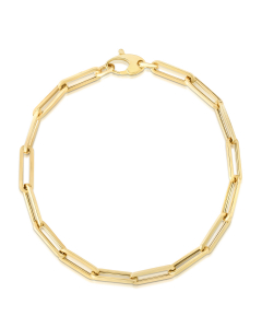 Women's Elongated Paperclip Link Bracelet 4.2mm 14k Yellow Gold| The Jewel In Giving
