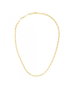 """Women's 16"""" Paper Clip Chain Necklace 14k Yellow Gold 3.3mm