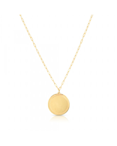 """Women's 18"""" Round Disc Pendant Necklace 14k Yellow Gold
