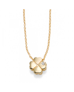 Women's Diamond Clover Necklace 14k Yellow Gold | The Jewel In Giving