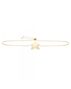 Women's Initial A Bolo Bracelet 14k Yellow Gold |The Jewel In Giving