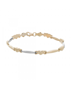 Two-tone Heart Link Stampato Bracelet 14k Yellow, White Gold